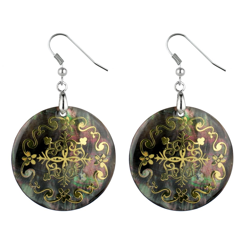 Drop Earring Etched Floral Filigree Swirl Made With Mother Of Pearl by JOE COOL