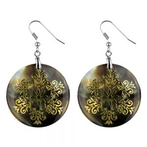 Drop Earring Etched Floral Filigree Flower Made With Mother Of Pearl by JOE COOL