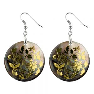 Drop Earring Etched Floral Filigree Rose Made With Mother Of Pearl by JOE COOL