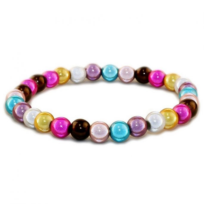Bracelet Multi-coloured Magic Beads Elasticated Made With Resin by JOE COOL