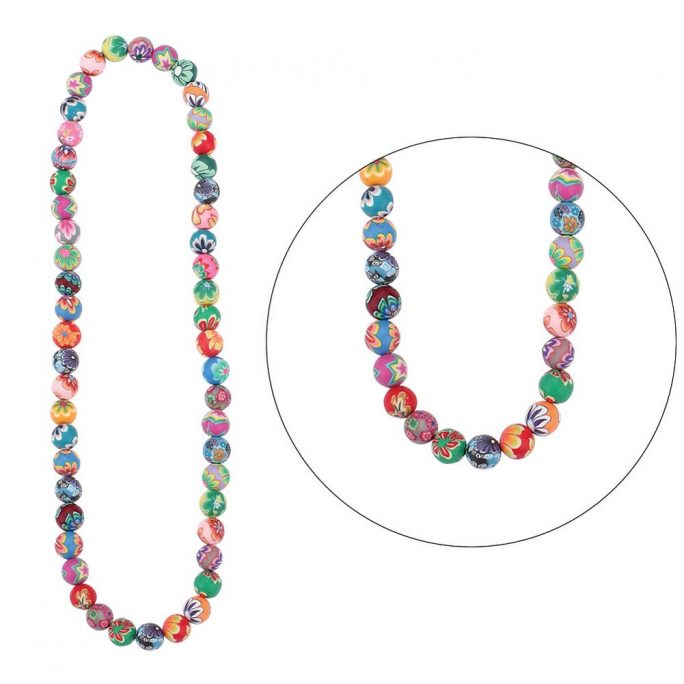 Bead String Necklace Floral Beads Elasticated Made With Resin by JOE COOL