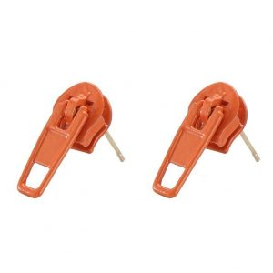 Stud Earring Mini Zip Made With Copper by JOE COOL
