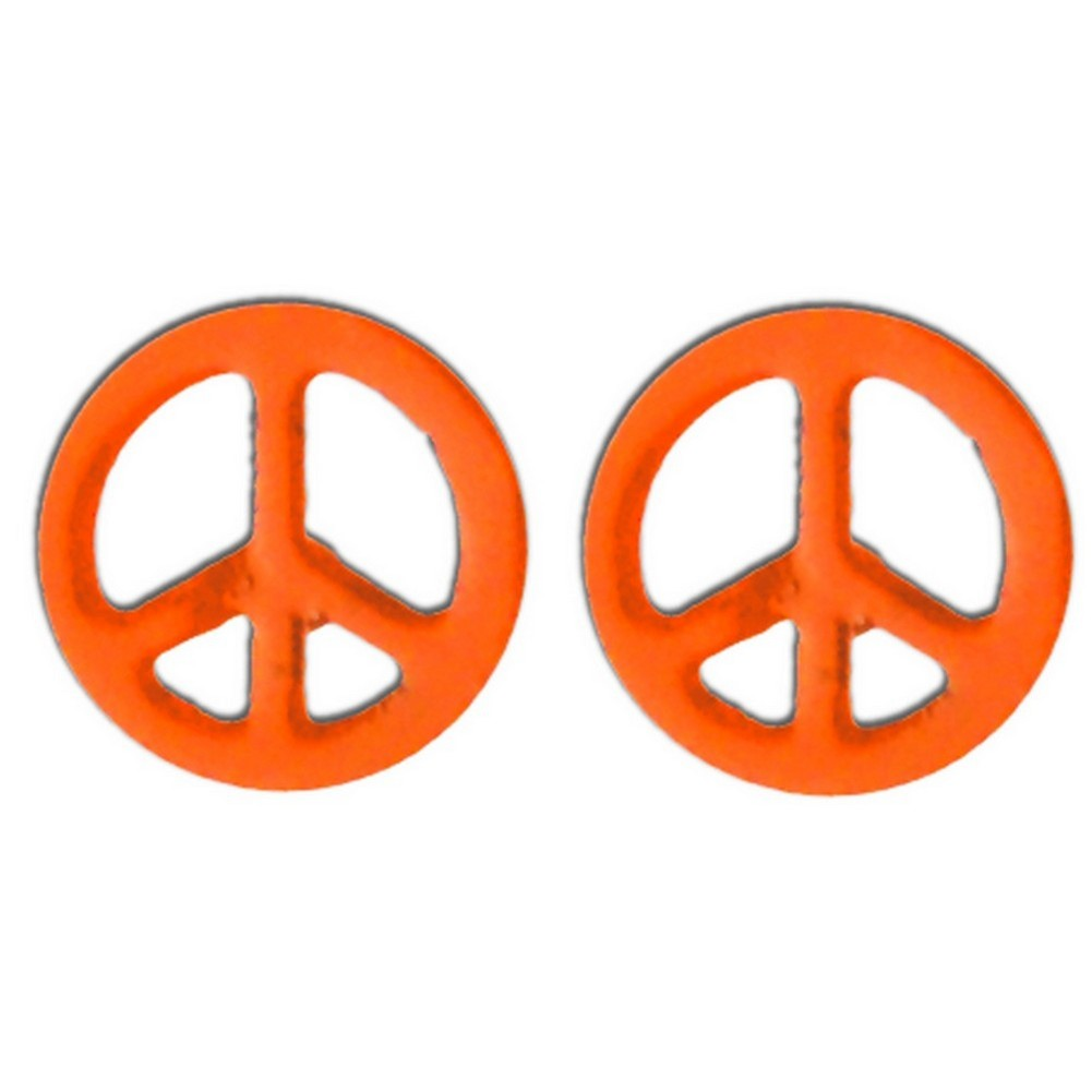 Stud Earring Peace Sign Made With Tin Alloy by JOE COOL