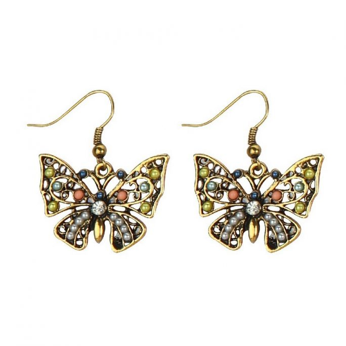 Drop Earring Bejewelled Butterfly Bronze Made With Tin Alloy by JOE COOL