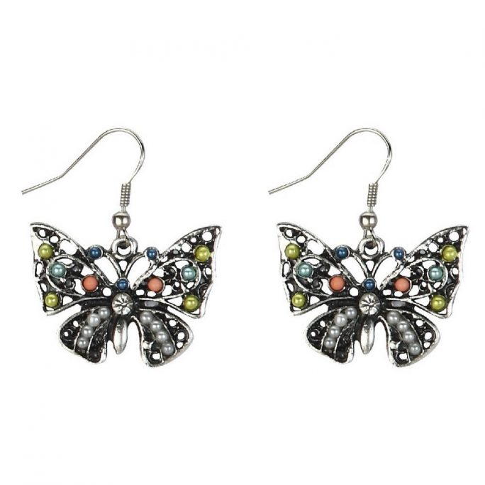 Drop Earring Bejewelled Butterfly Silver Made With Tin Alloy by JOE COOL