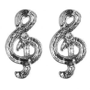 Stud Earring Treble Clef Made With Enamel by JOE COOL