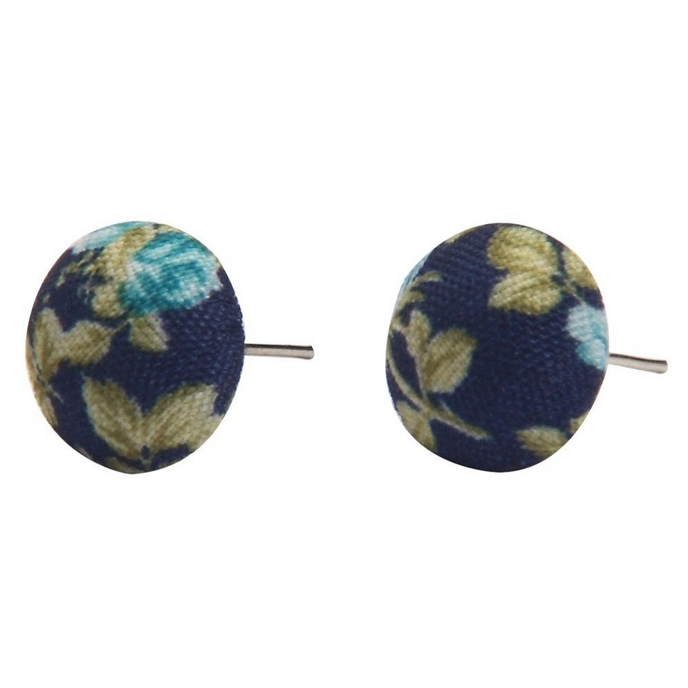 Stud Earring Textile Vintage Rose Made With Polyester & Iron by JOE COOL