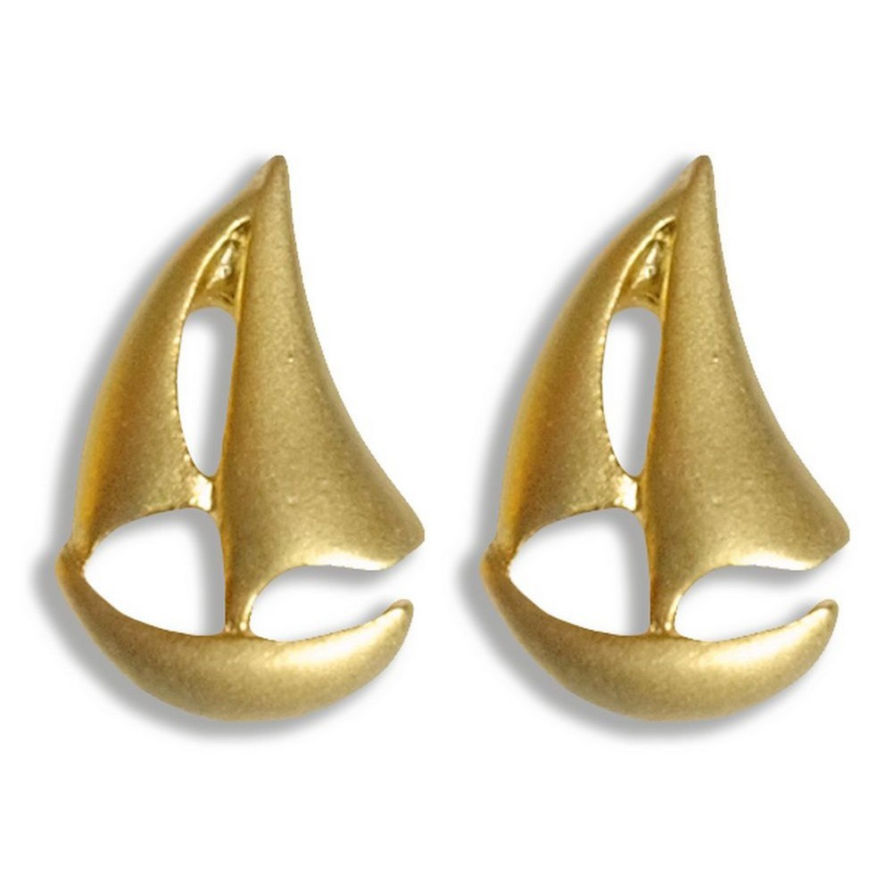 Stud Earring Travelogue Matte Sail Boat by JOE COOL