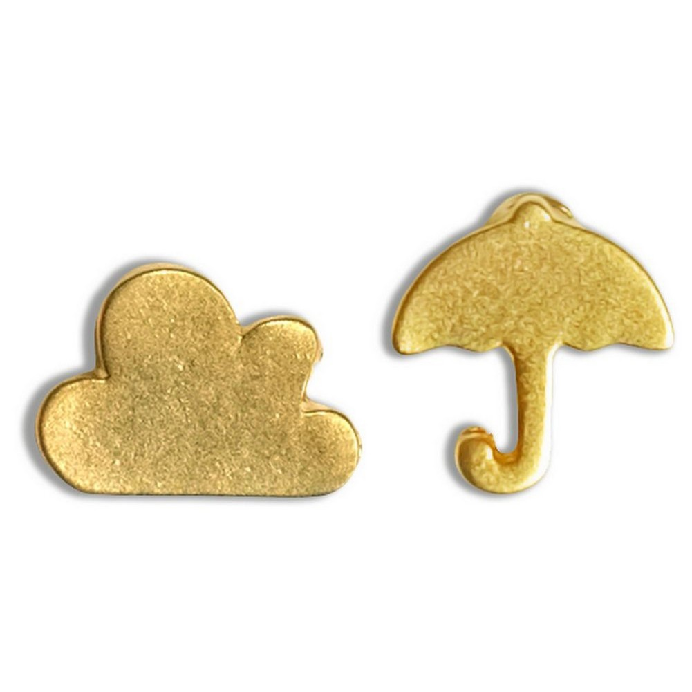 Stud Earring Travelogue Matte Clouds And Umbrella by JOE COOL