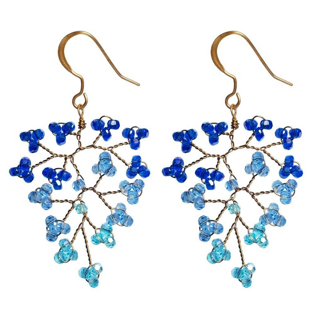 Drop Earring Delicate Bunch Made With Crystal Glass by JOE COOL