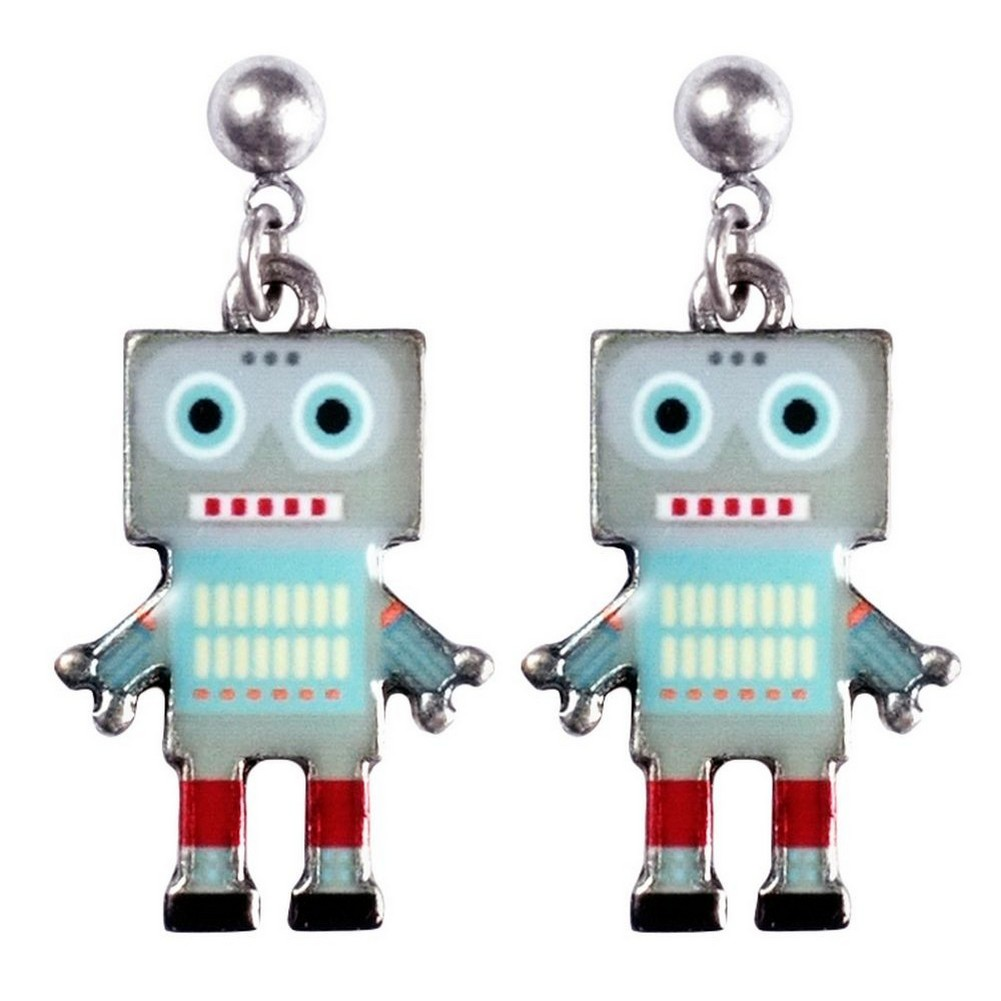 Stud & Drop Earring Robot Made With Tin Alloy & Enamel by JOE COOL