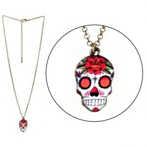Necklace With A Pendant Skull Made With Tin Alloy & Enamel by JOE COOL