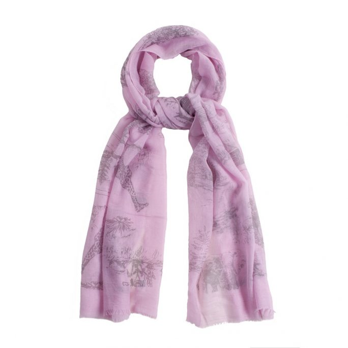 Scarf Etched Animal Illustration Made With Polyester & Viscose by JOE COOL