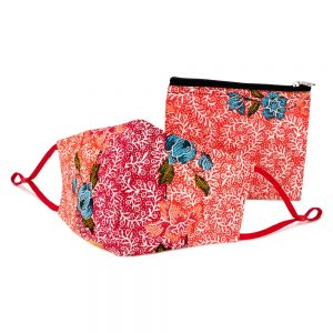 Face Mask With Matching Pouch Fine Batik Print Made With Cotton by JOE COOL