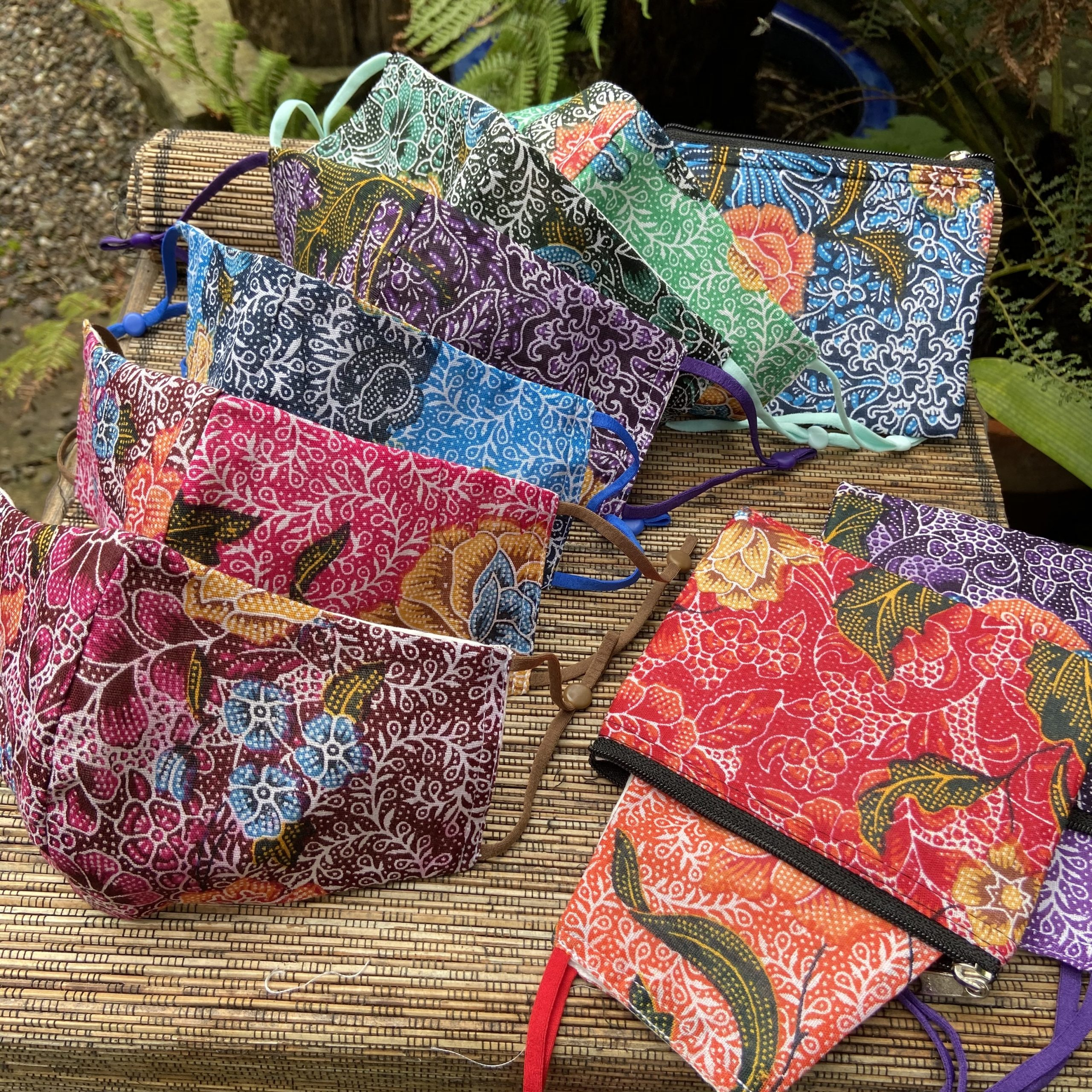 New face masks in beautiful floral batik prints are now in stock