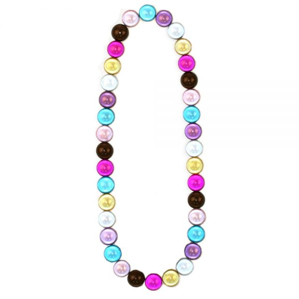 Bead String Necklace Multi-coloured Magic Beads Elasticated Made With Resin by JOE COOL