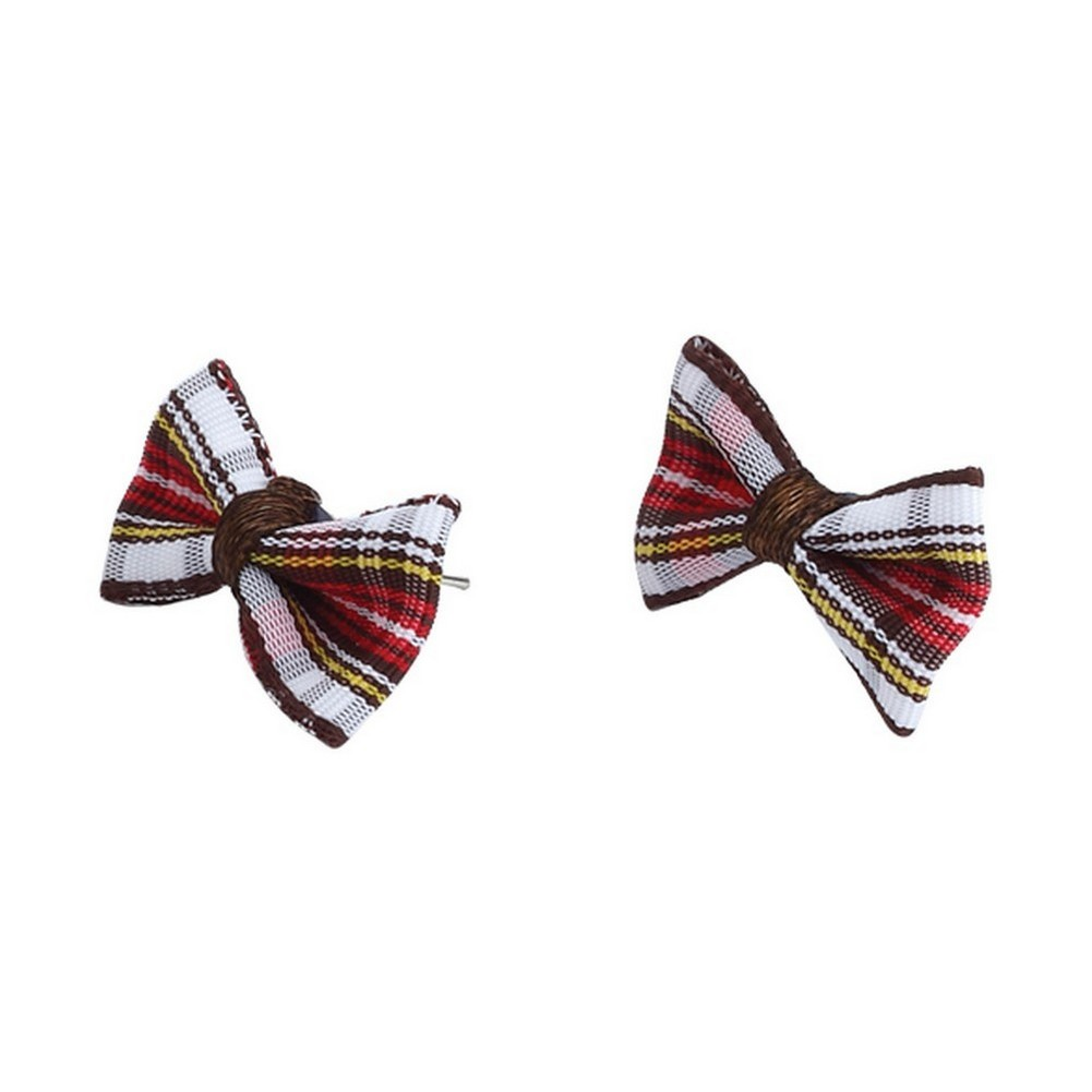 Stud Earring Tartan Bow Made With Cotton by JOE COOL