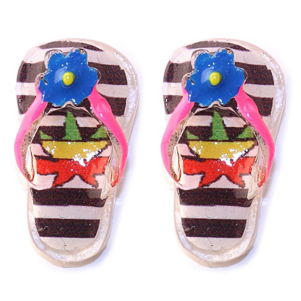Stud Earring Handpainted Crazy Flip Flop Made With Resin by JOE COOL