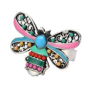Ring Bee Made With Enamel & Crystal Glass by JOE COOL