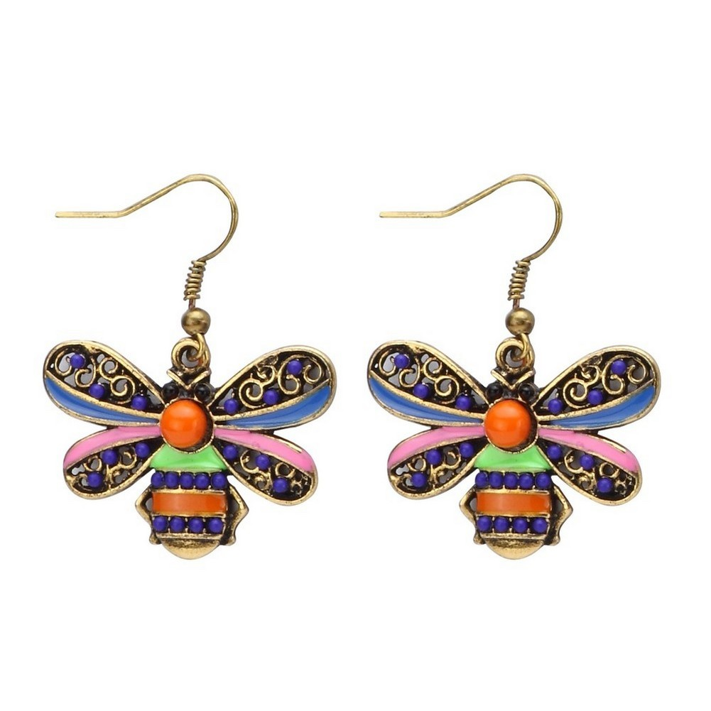 Drop Earring Bee Made With Enamel & Crystal Glass by JOE COOL