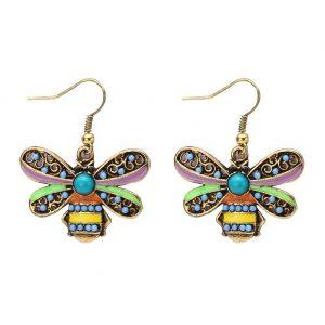 Drop Earring Bee Made With Enamel & Crystal Glass by JOE COOL
