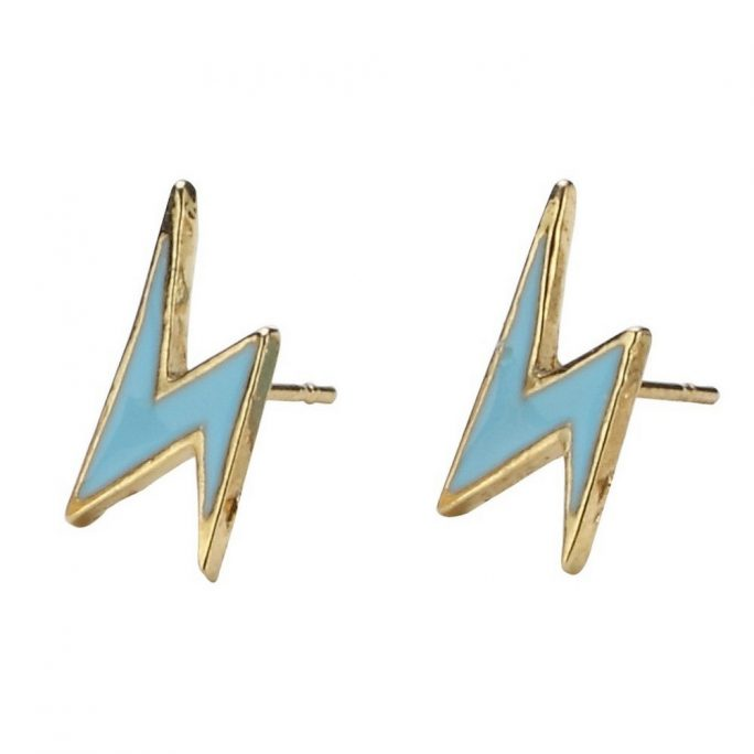 Stud Earring Lightning Bolt Made With Enamel by JOE COOL