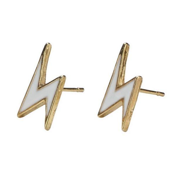 Stud Earring Lightning Bolt Made With Enamel by JOE COOL