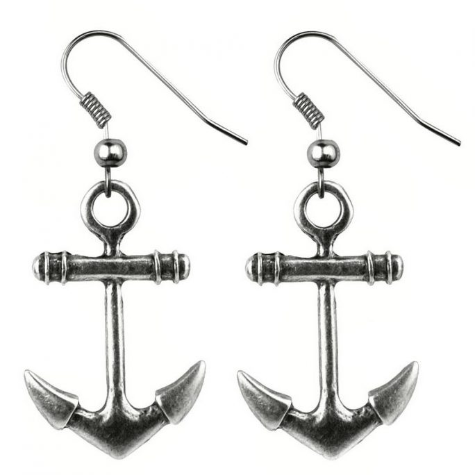 Drop Earring Anchor Made With Tin Alloy by JOE COOL