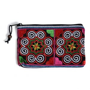 Coin Purse Embroidered Swirl Made With Satin by JOE COOL
