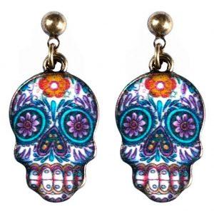 Stud & Drop Earring Skull Made With Tin Alloy & Enamel by JOE COOL