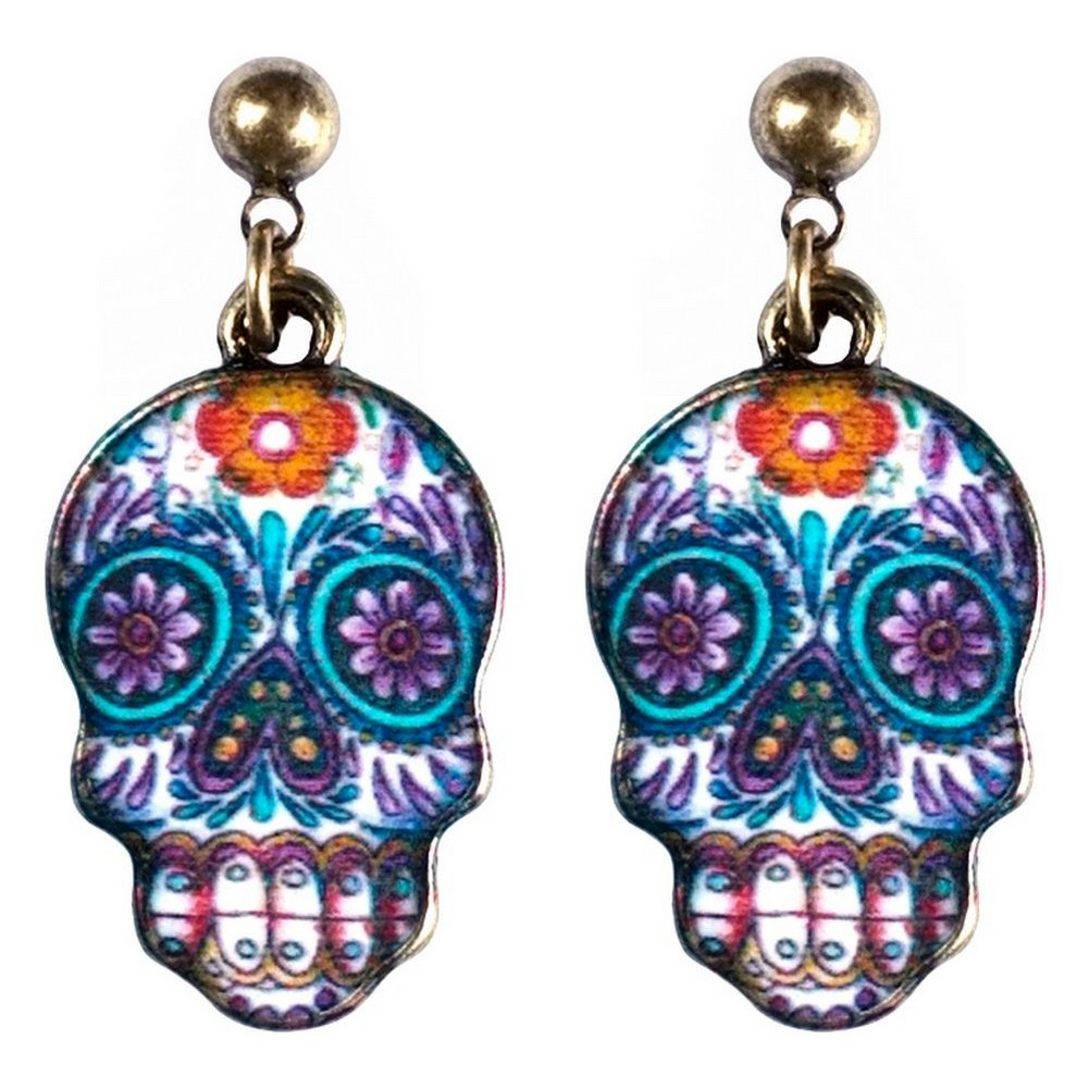 Stud & Drop Earring Skull Made With Tin Alloy & Enamel by JOE COOL