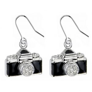 Drop Earring Camera Made With Crystal Glass & Enamel by JOE COOL