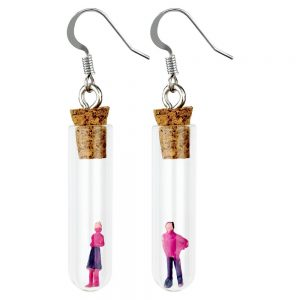 Drop Earring Man & Woman In A Test Tube Made With Resin & Glass by JOE COOL