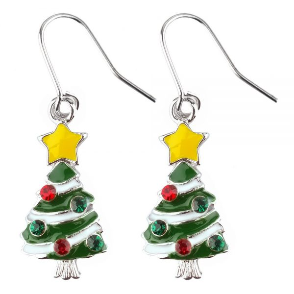 Drop Earring Christmas On Gift Card Made With Crystal Glass & Enamel by JOE COOL