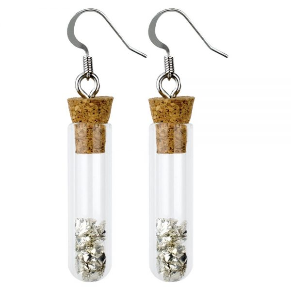 Drop Earring Test Tube Stones Made With Glass & Iron by JOE COOL