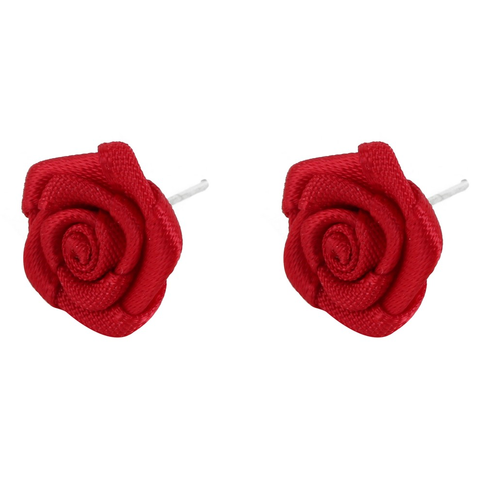 Stud Earring Satin Rose Made With Polyester by JOE COOL