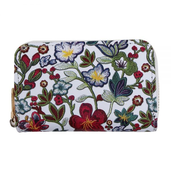 Zip Wallet Arts & Crafts Relief Floral Made With Pu by JOE COOL