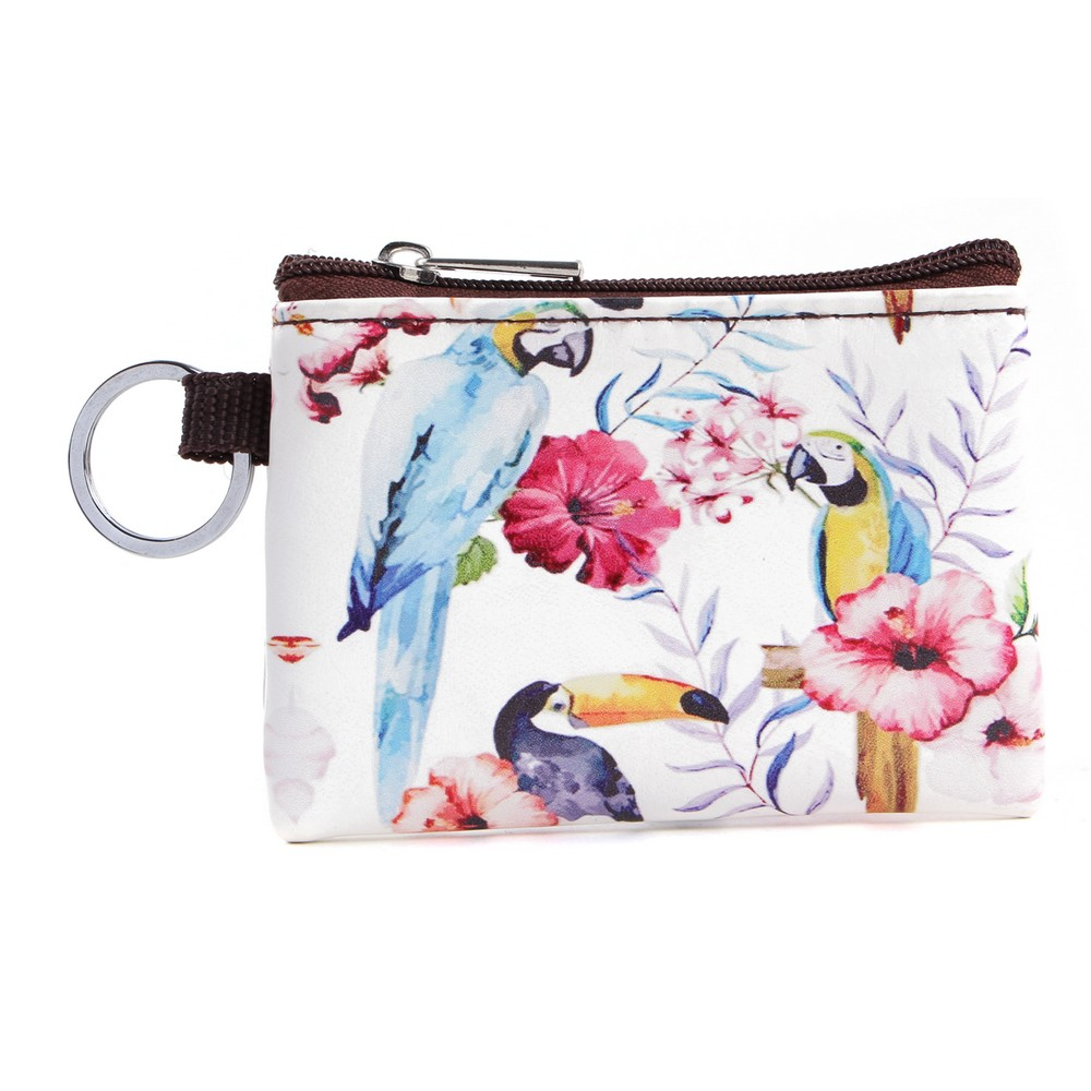Coin Purse Zipped Tropical Feathers & Flowers Made With Pu by JOE COOL