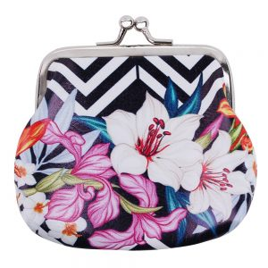Coin Purse Tropical Feathers & Flowers Made With Pu by JOE COOL