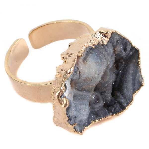 Ring Smoky Gilded Quartz Geode Made With Stone & Copper by JOE COOL