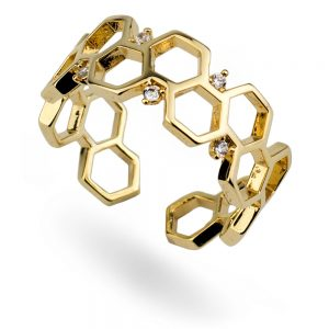 Ring Honeycomb Hexagon Made With Tin Alloy & Crystal Glass by JOE COOL