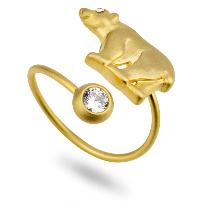 Ring Polar Bear Made With Tin Alloy & Crystal Glass by JOE COOL