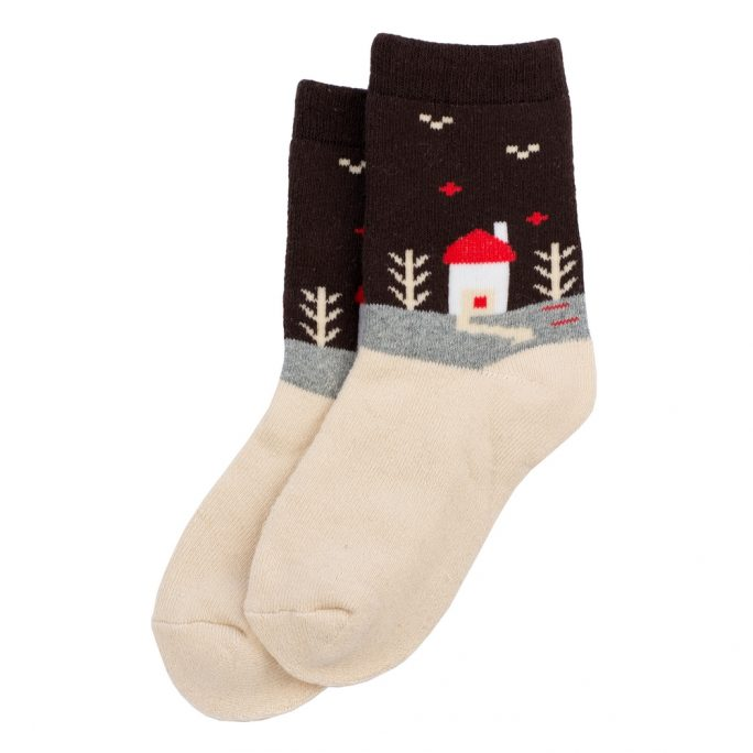 Socks Kids Winter Scene 6-8 Years Made With Cotton & Spandex by JOE COOL