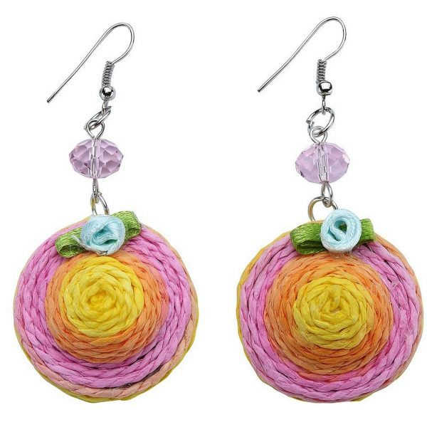 Drop Earring Hat 30mm Made With Raffia & Crystal Glass by JOE COOL