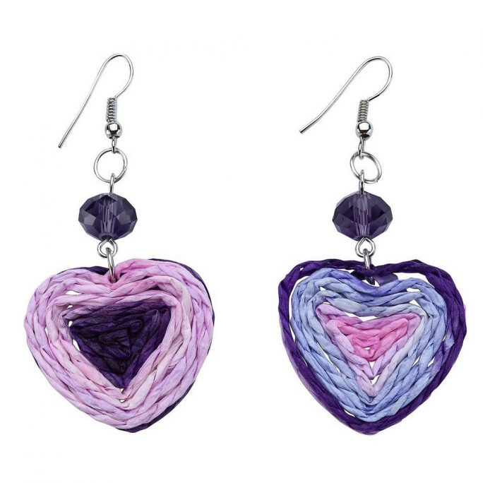 Drop Earring Heart Made With Raffia & Crystal Glass by JOE COOL