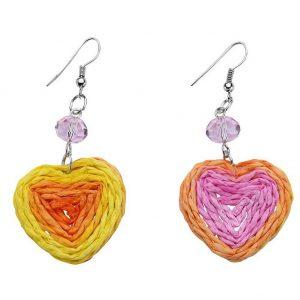 Drop Earring Heart Made With Raffia & Crystal Glass by JOE COOL