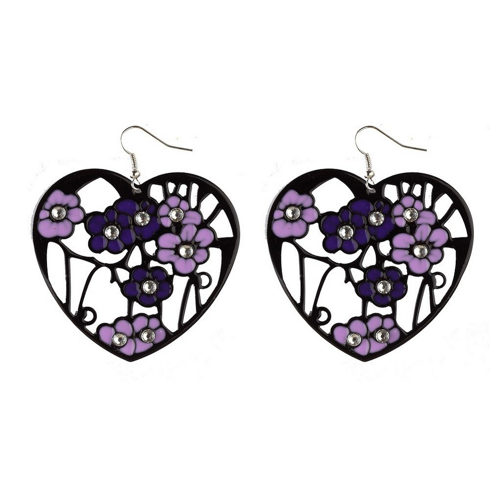 Drop Earring Teardrops & Hearts Made With Zinc Alloy & Crystal Glass by JOE COOL