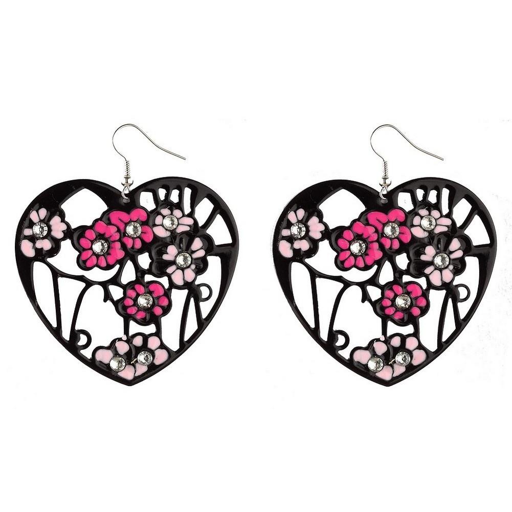 Drop Earring Teardrops & Hearts Made With Zinc Alloy & Crystal Glass by JOE COOL