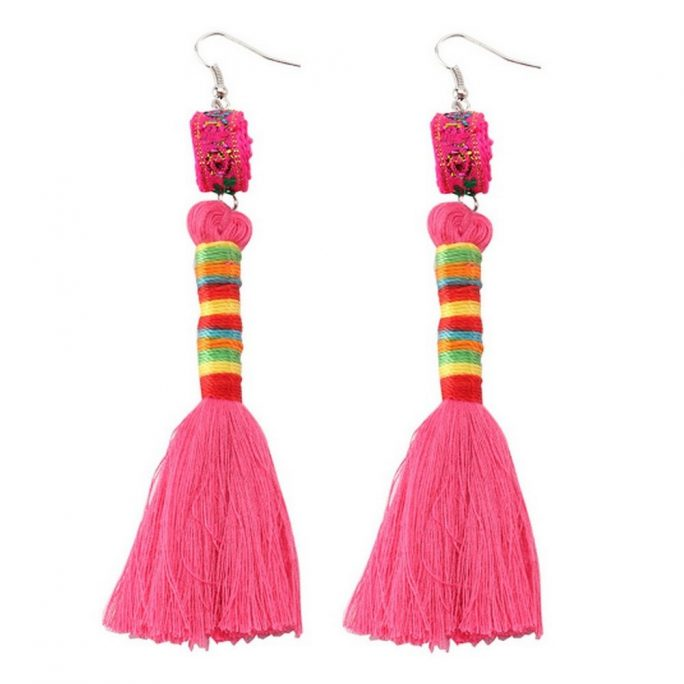Drop Earring Tassel Made With Tin Alloy & Cotton by JOE COOL