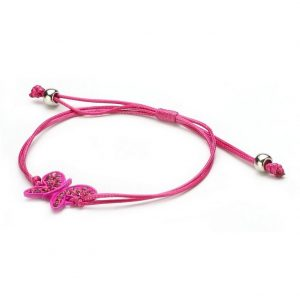 Bracelet Butterfly Adjustable Made With Crystal Glass & Cord by JOE COOL